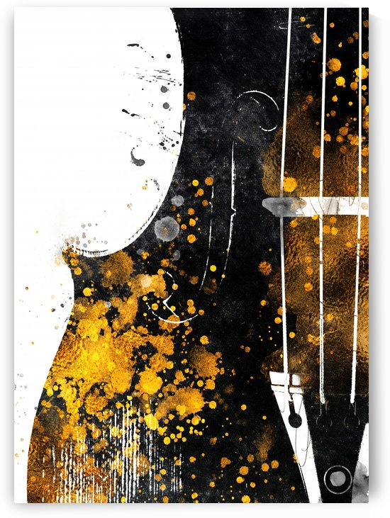 Violin art gold and black by Justyna Jaszke