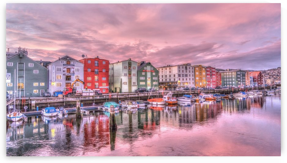 trondheim norway sunrise river by Shamudy