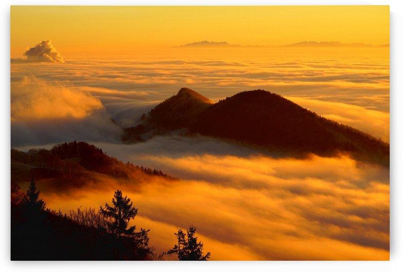 fog clouds sea of fog mountain by Shamudy