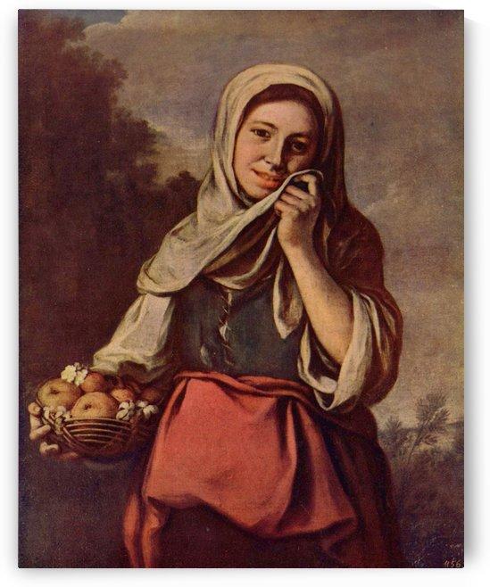 A woman with fruit by Bartolome Esteban Murillo