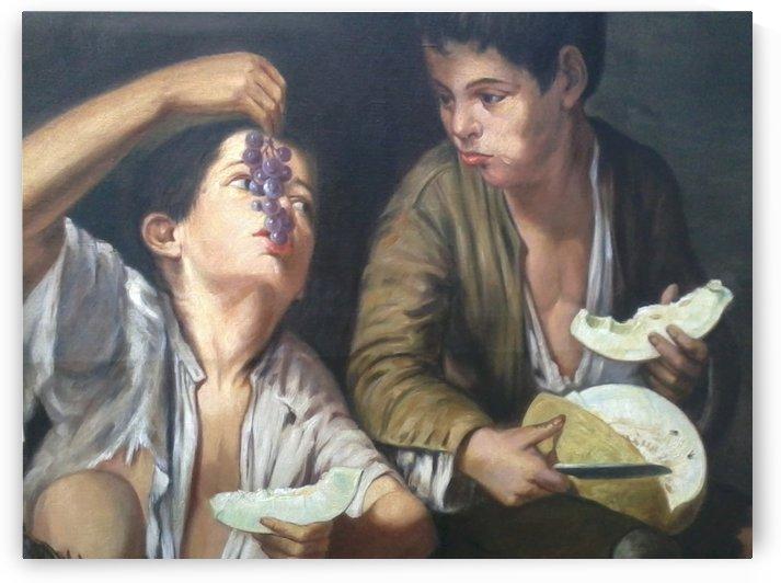 Two boys eating fruit by Bartolome Esteban Murillo