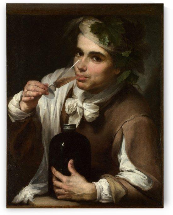 A Young Man Drinking by Bartolome Esteban Murillo