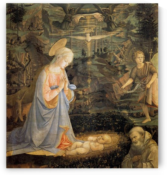 Adoration of the baby by Fra Filippo Lippi