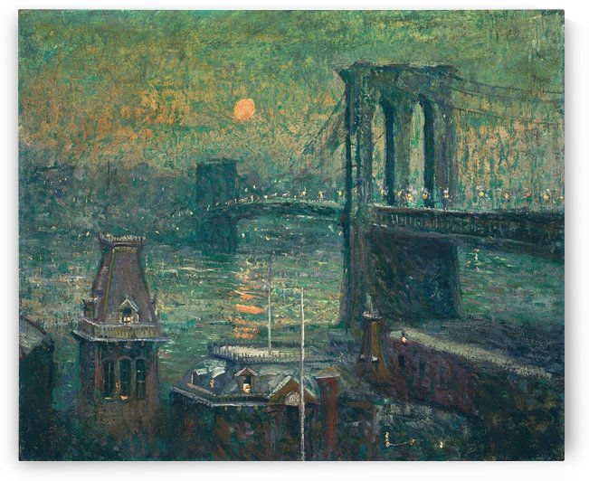 Moon the seine by Ernest Lawson