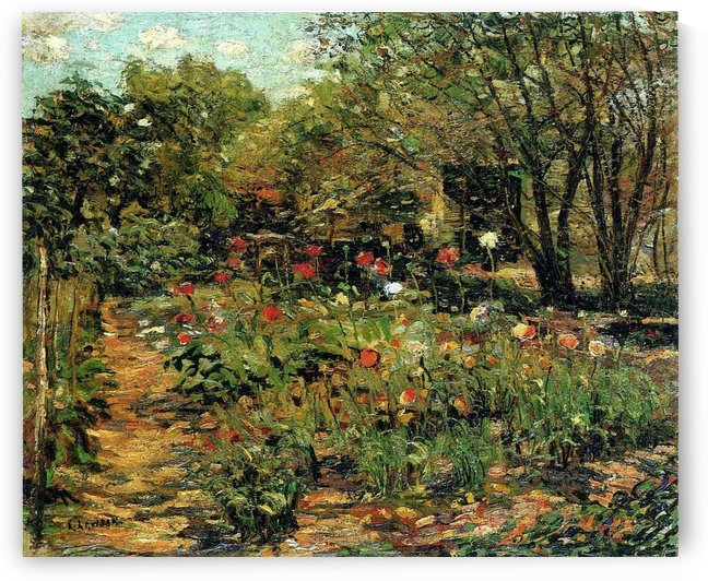 Garden with flowers by Ernest Lawson