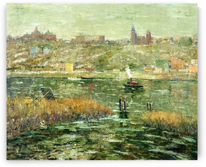 City by the river by Ernest Lawson