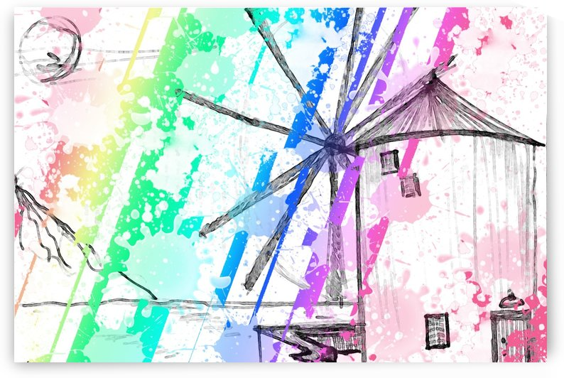 windmill art print multicolor 02 by ANASTASIA SKARLATOUDI
