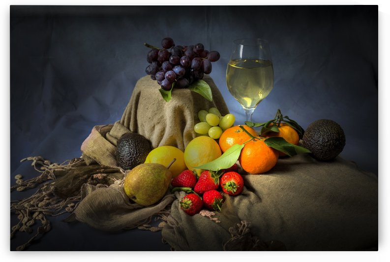 A mixture of fruit and a glass of wine by Leighton Collins