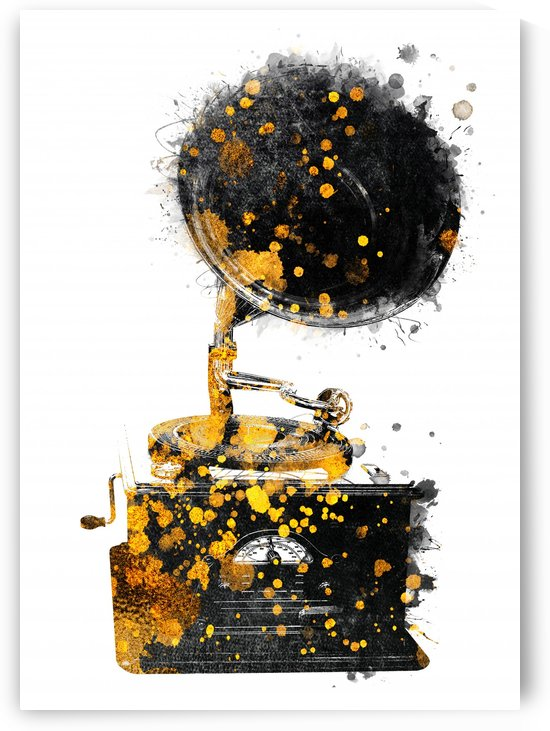 Gramophone music art gold and black by Justyna Jaszke