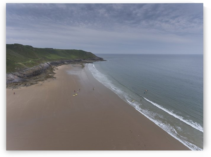 Aerial view of Caswell Bay in Swansea by Leighton Collins