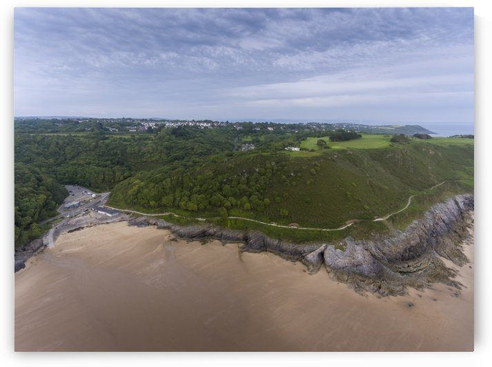 Aerial view of Caswell Bay car park and shops by Leighton Collins