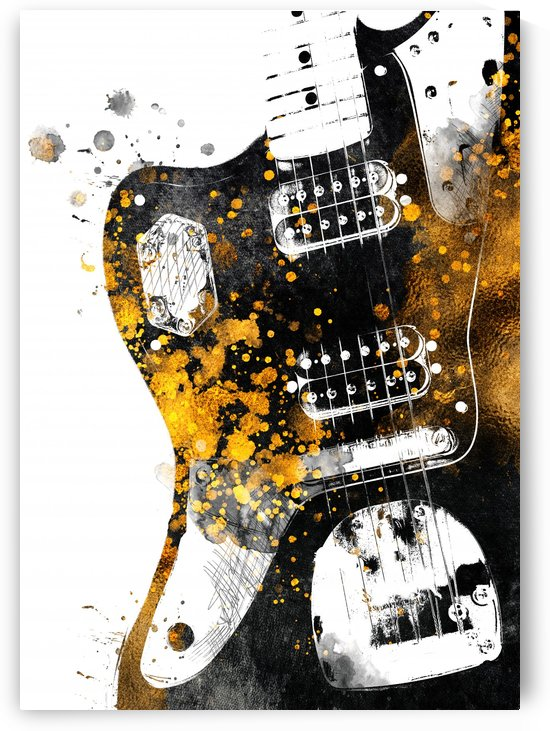 Guitar music art gold and black by Justyna Jaszke