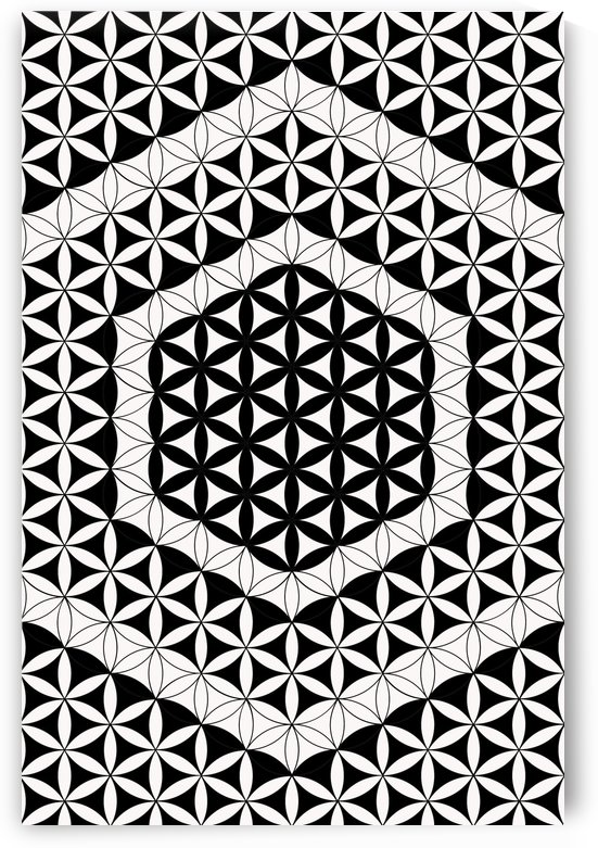 Hexagons Cubes Sacred Geometry Black White by Cveti