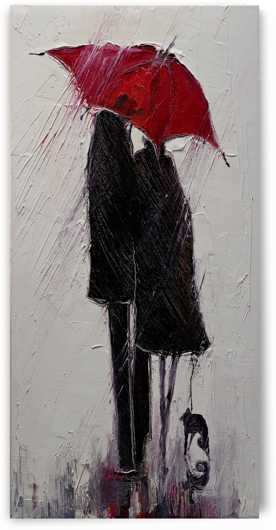 Red Umbrella and Black Cat by Justyna Kopania