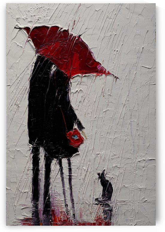 Red Umbrella and Black Cat 1 by Justyna Kopania
