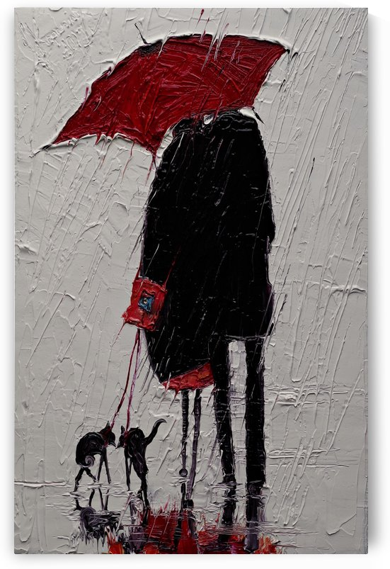 Red Umbrella and Black Cat 2 by Justyna Kopania
