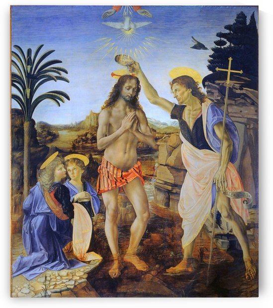 Leonardo da Vinci -Verrocchio: The Baptism of Christ HD-300ppi by Famous Paintings