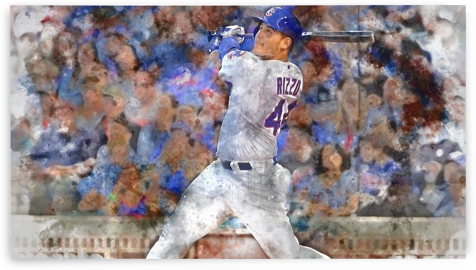 ANTHONY RIZZO Water Color Print - Chicago Cubs Print by Dinger Studios