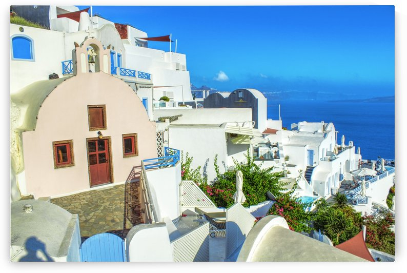 Colourful Village - Santorini Landscape by Bentivoglio Photography