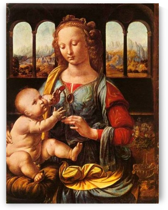 Leonardo da Vinci. The Madonna of the Carnation HD 300ppi by Famous Paintings