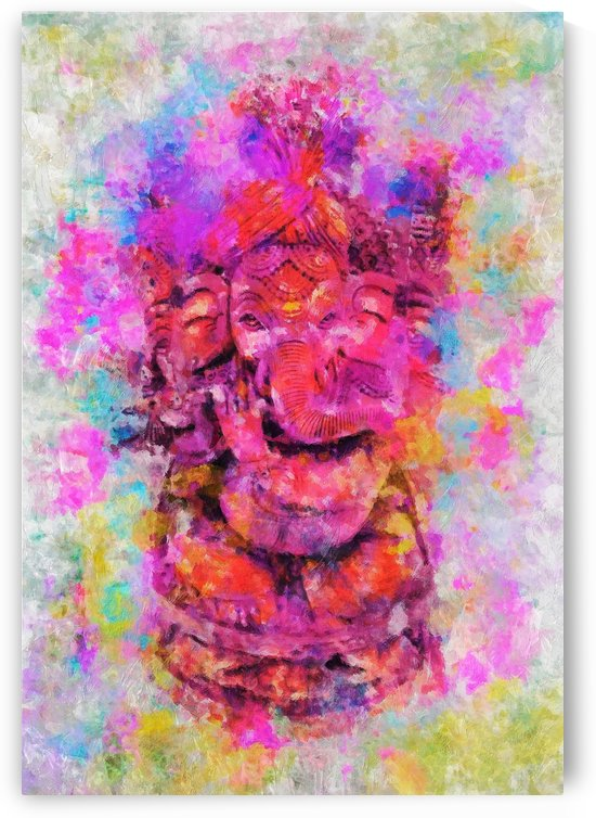 LORD GANESHA IN HOLI COLOURS PALETTE KNIFE PAINTING by ASP ARTS