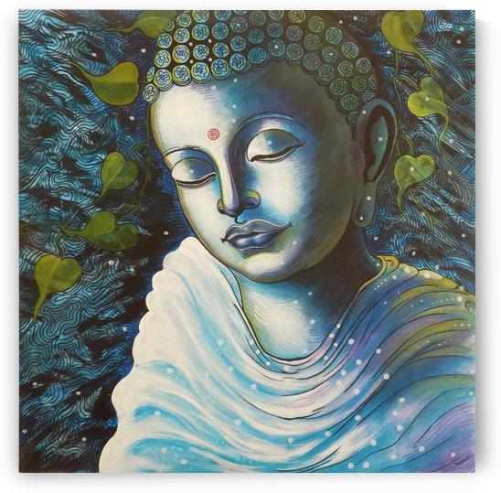 GAUTAMA BUDDHA IN BLUE PORTRAIT by ASP ARTS