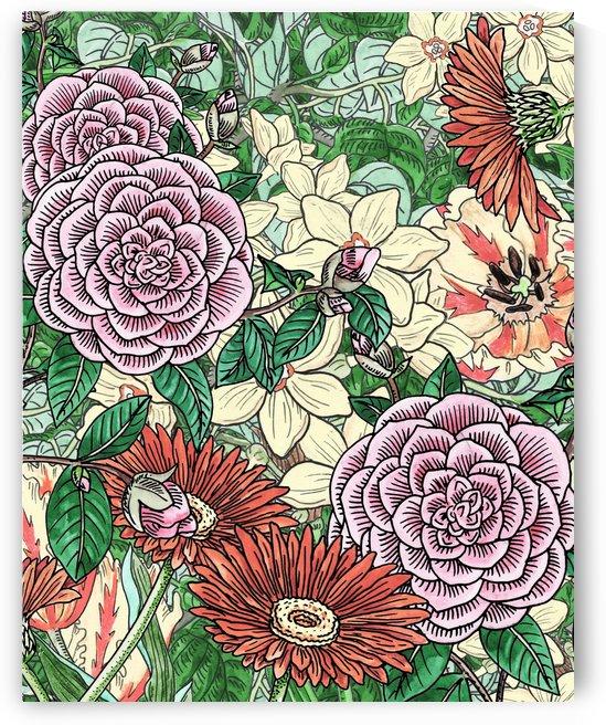 Watercolor Botanical Flowers Garden Flowerbed II by Irina Sztukowski