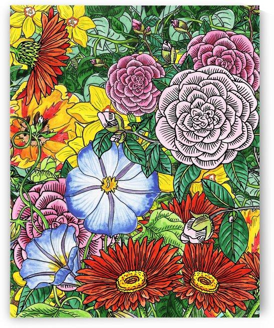 Watercolor Botanical Flowers Garden Flowerbed III by Irina Sztukowski