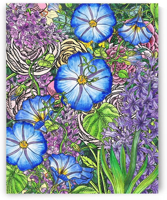 Watercolor Botanical Flowers Garden Flowerbed VI by Irina Sztukowski