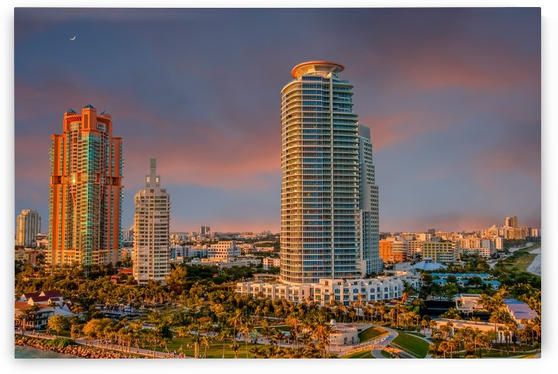 Dusk on Miami Beach Condos by Darryl Brooks
