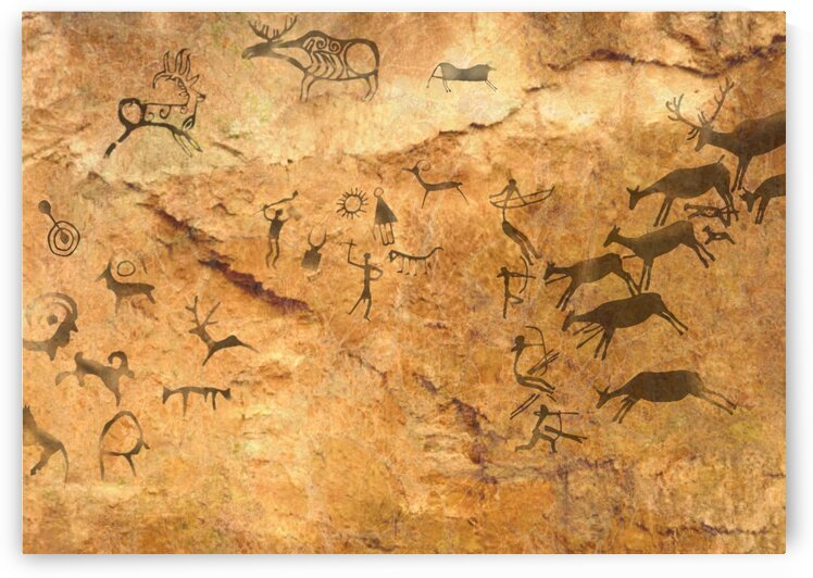 Rock cave paintings. Ancient painting. The first pictures of my ancestors.  by Radiy