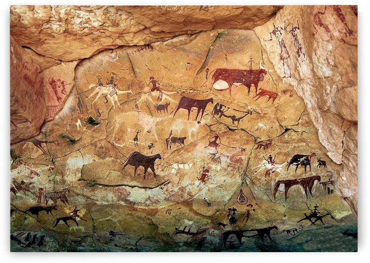 Rock cave paintings. Ancient painting.  by Radiy