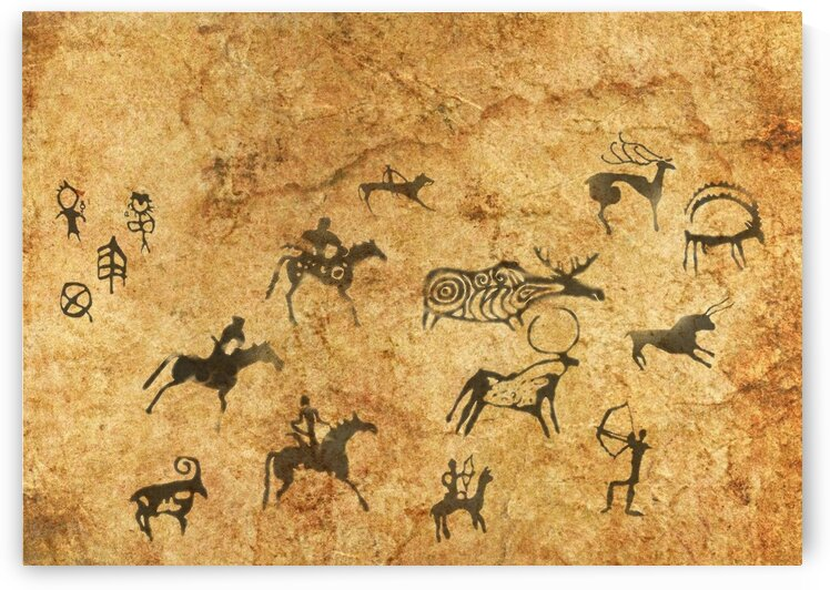 Rock cave paintings. Ancient painting. 4 by Radiy