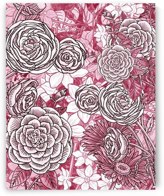 Watercolor Botanical Flowers Garden Pink Flowerbed IV by Irina Sztukowski
