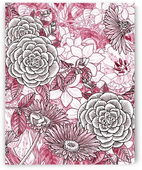 Watercolor Botanical Flowers Garden Pink Flowerbed II by Irina Sztukowski