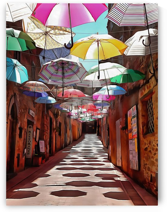 Festa Umbrellas Paciano With Shadows by Dorothy Berry-Lound