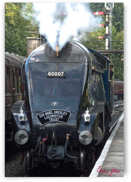 SIr Nigel Gresley 60007 at Grosmont Station steam whistle blowing by Edwin John by Edwin John