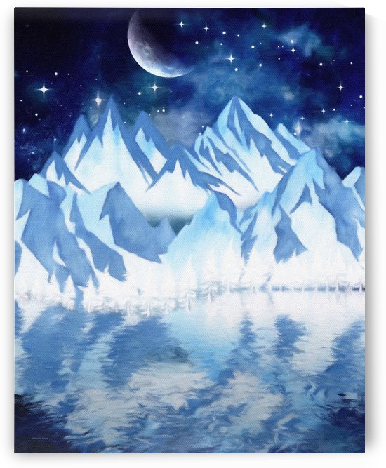 Starry winter night in the mountains by Gabriella David