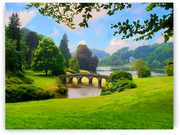 Landscape with a bridge. A park. by Radiy
