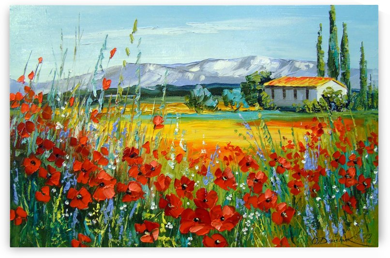 Poppy field near the mountains by Olha Darchuk