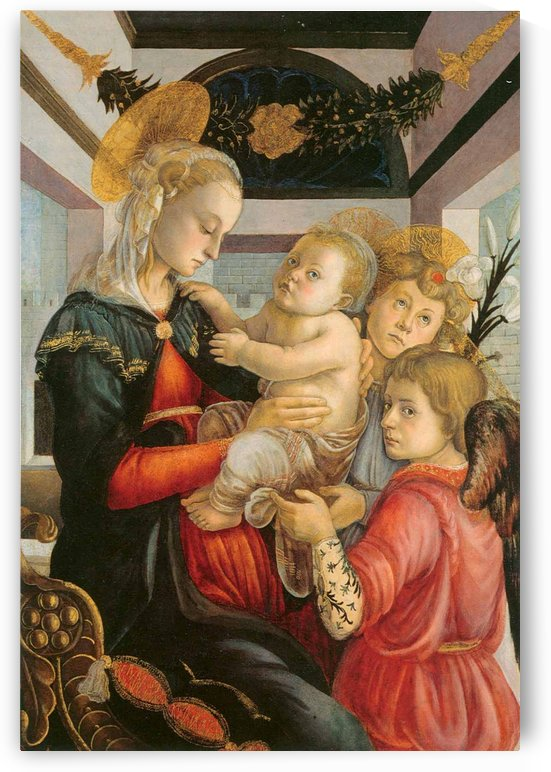 Madonna and child with two angels by Sandro Botticelli