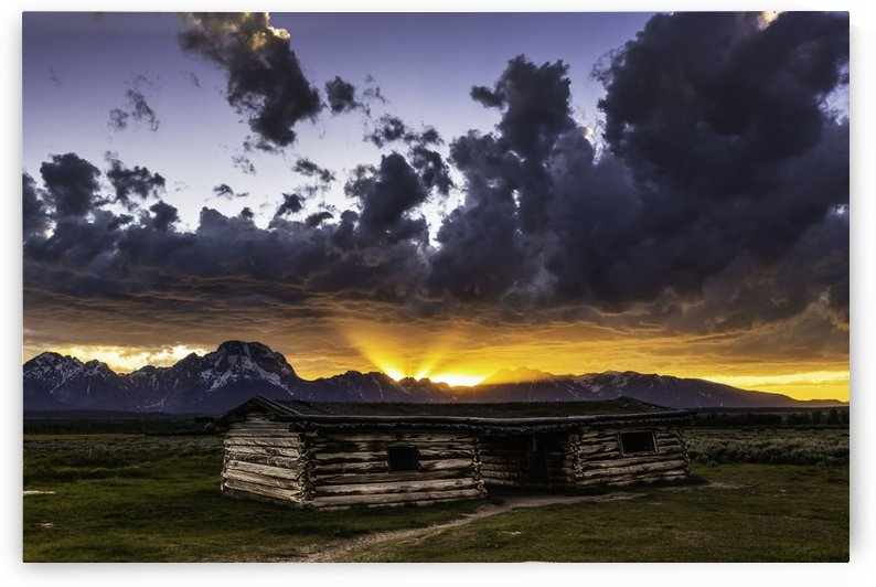 Pioneer Cabin sunset Grand Tetons by Daryl L Hunter