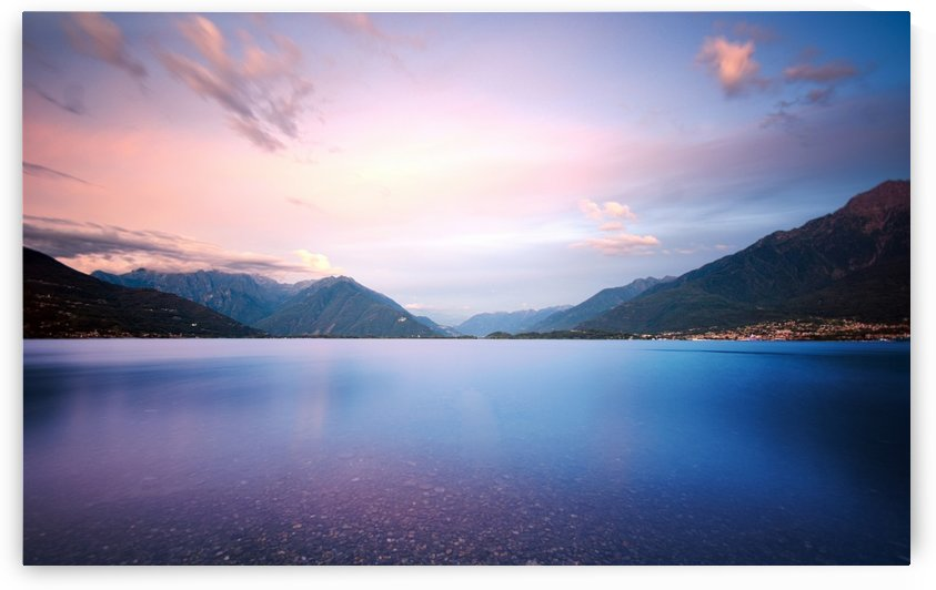 twilight at lake by Luigi Girola