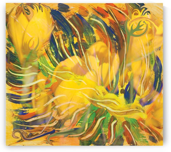 yellow flowers abstraction by BBS Art