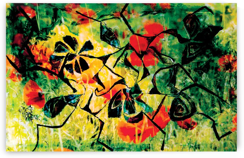 abstract meadow with flowers by BBS Art