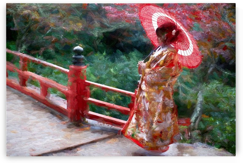 Geisha posing on Japanese bridge by girouArd