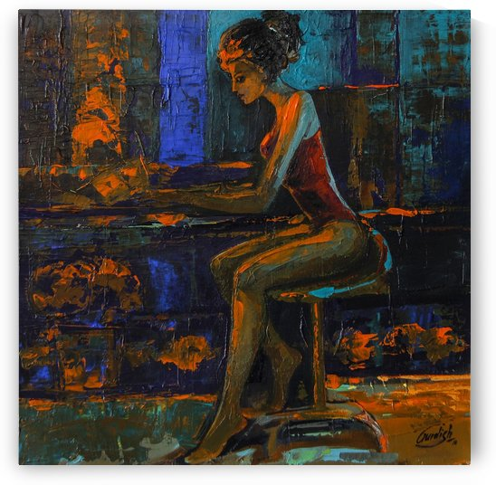 The light behind her window -1 -  18x18 by Gurdish Pannu India
