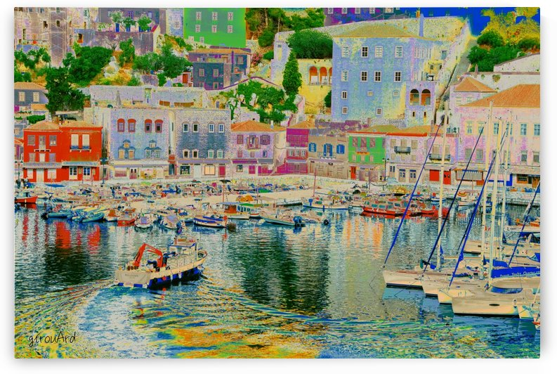 Colorful Greek island Port by girouArd