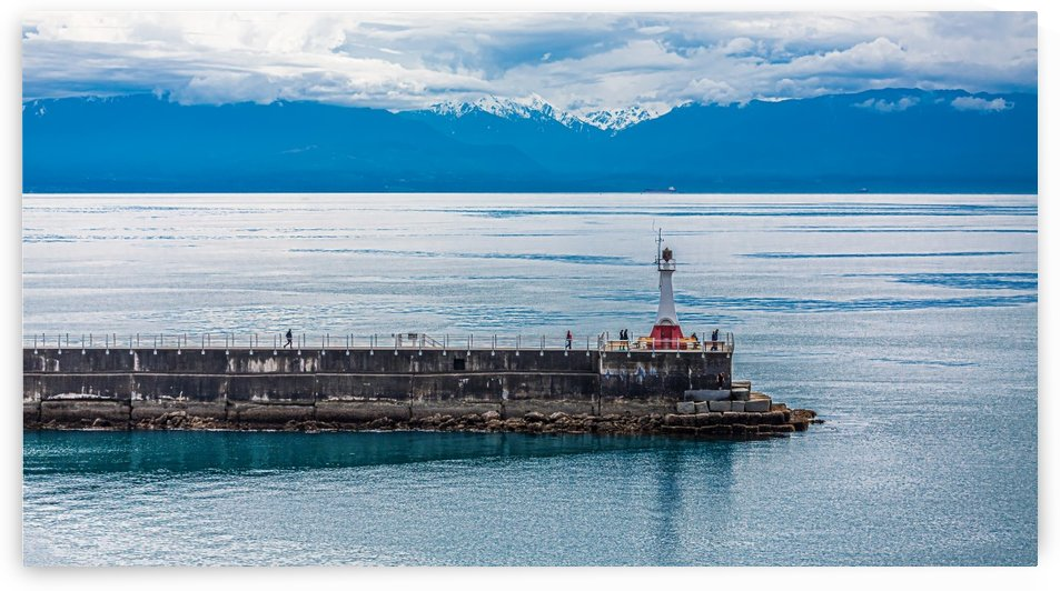 Breakwater and lighthouse in Victoria, BC by Darryl Brooks