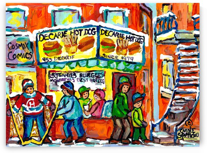 DECARIE HOT DOG MONTREAL WINTER SCENE PAINTING by Carole  Spandau